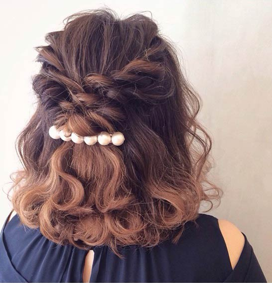 31 half up half down hairstyles for bridesmaids stayglam easy curly half up half down hairstyle for medium length hair urmus Image collections