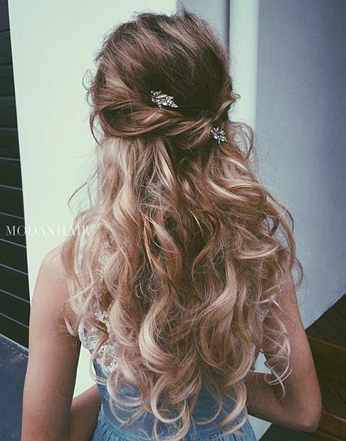 Easy Long Curly Hairstyle for Bridesmaids