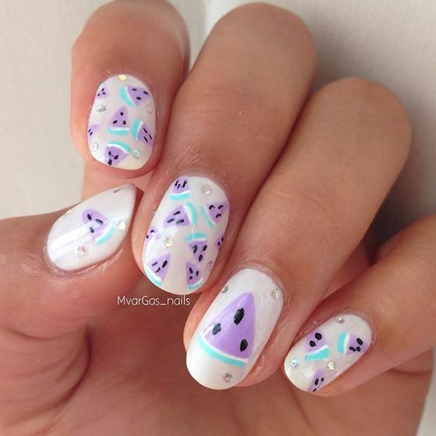 Purple Watermelon Nail Design for Summer