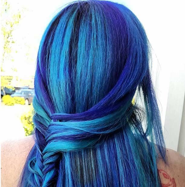 Braided Blue and Purple Hair