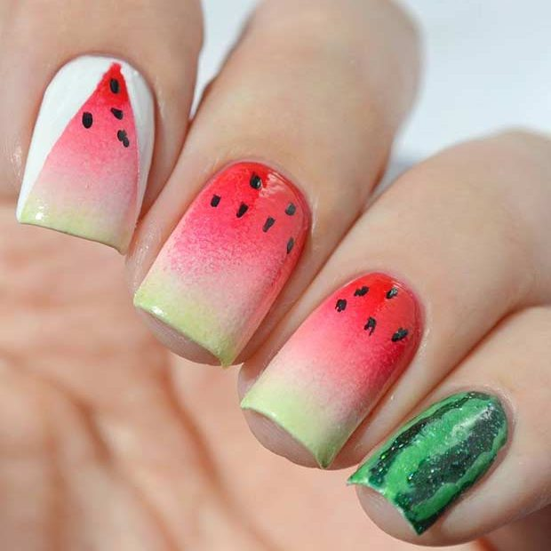 21 cute watermelon nail ideas page 2 of 2 stayglam ombre watermelon nail design prinsesfo Images