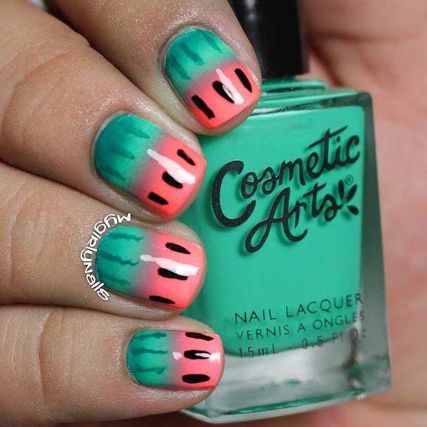 Dark Green and Pink Watermelon Nails