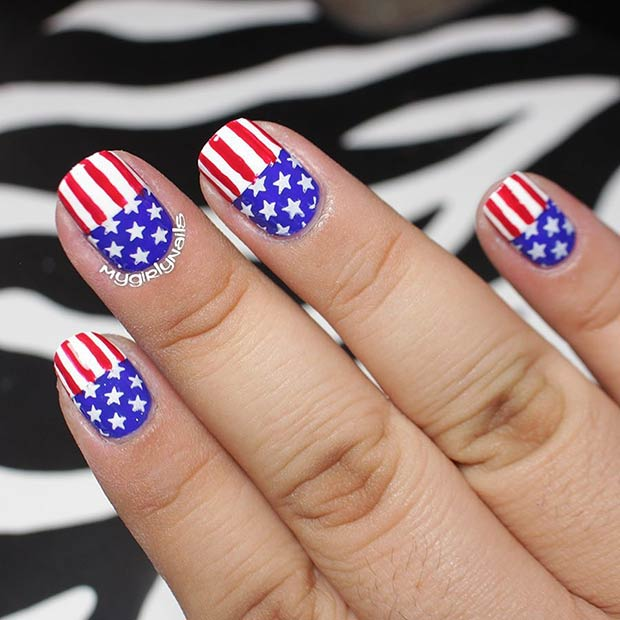American Flag Nail Art Idea