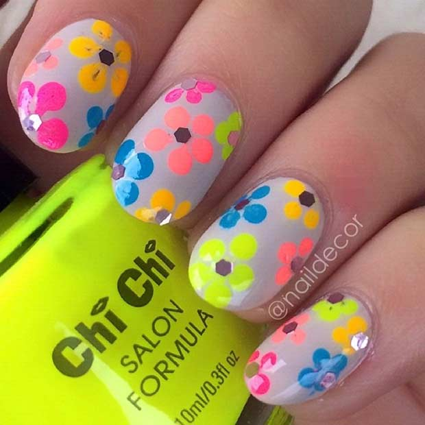 Neon Flower Nail Design for Summer