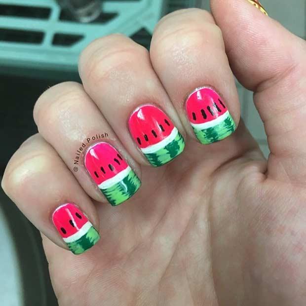 Detailed Watermelon Nail Design - 21 Cute Watermelon Nail Ideas StayGlam