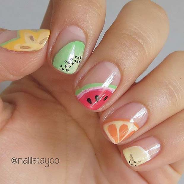Cute Fruit Nail Design for Summer