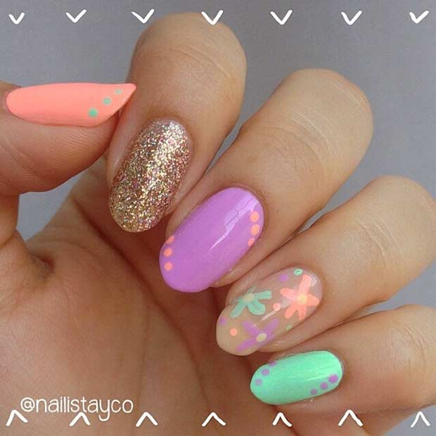 Bright and Colorful Nail Design for Beach
