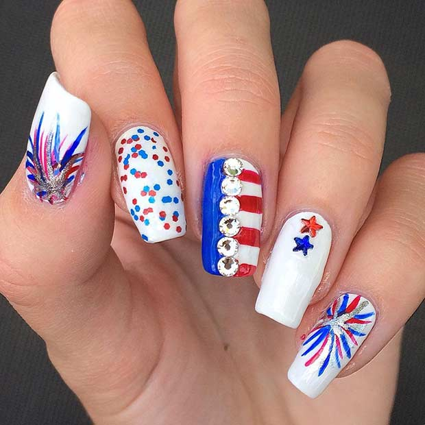 Fireworks Nail Design for the 4th of July - 31 Patriotic Nail Ideas For The 4th Of July StayGlam