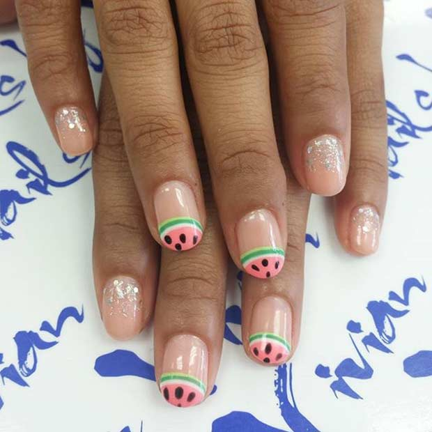 Watermelon and Glitter Nail Design