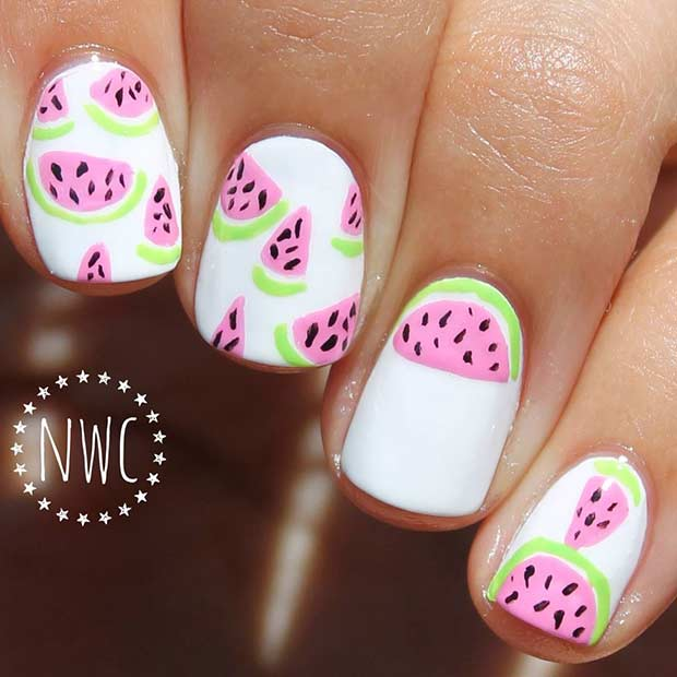 White Watermelon Nail Idea