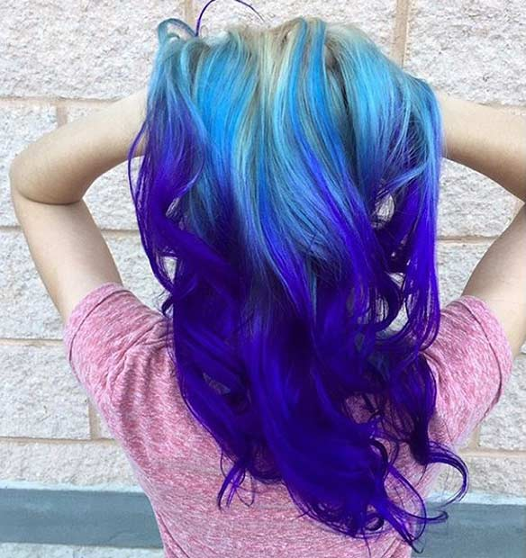 25 amazing blue and purple hair looks stayglam blue and purple ombre on blonde hair urmus Choice Image