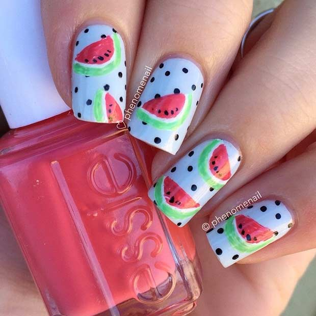 Polka Dot Watermelon Nail Design
