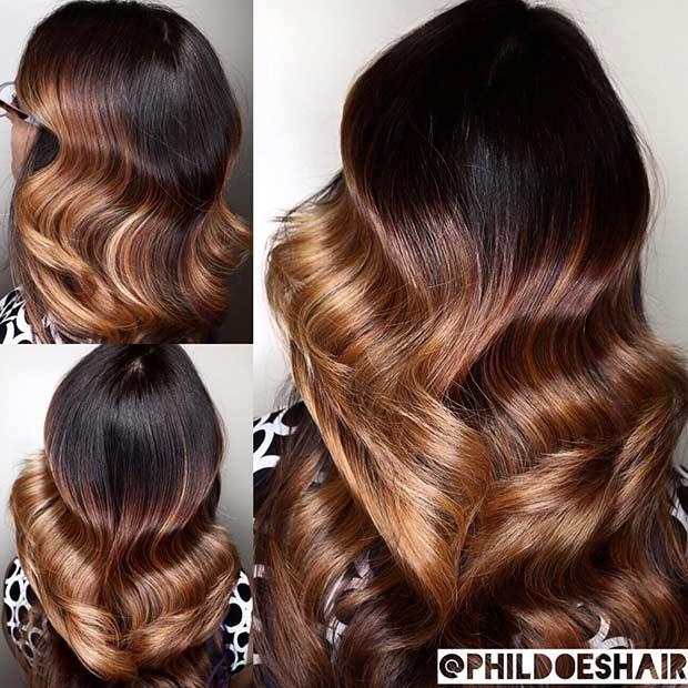 Burnished Metal Balayage Hair