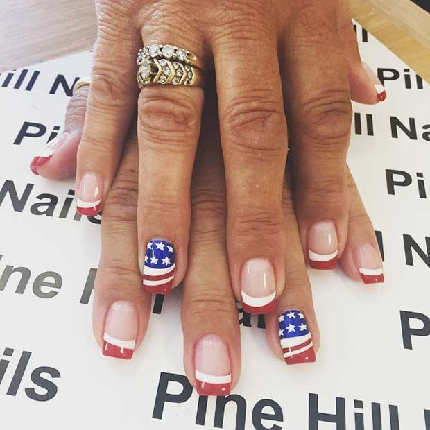 American Flag Accent Nail