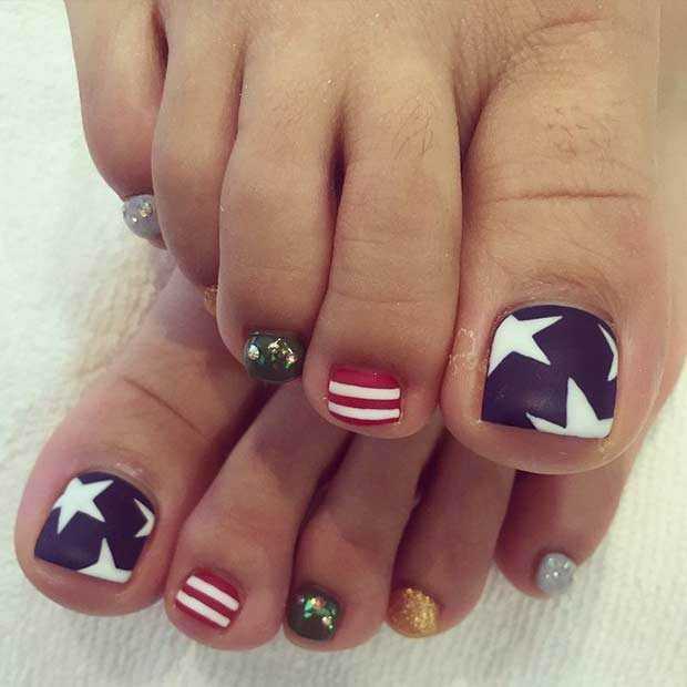 31 patriotic nail ideas for the 4th of july page 2 of 3 stayglam stars and stripes toe nail design for the 4th of july prinsesfo Image collections