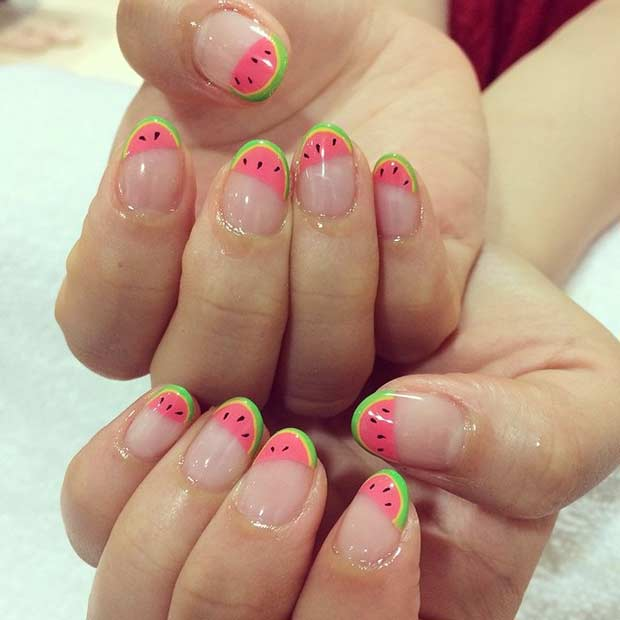Cute Watermelon Nail Design for Summer