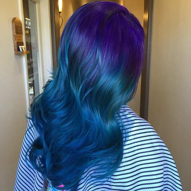 Ombre Hair Purple And Blue Dyed Color Pinterest Dye