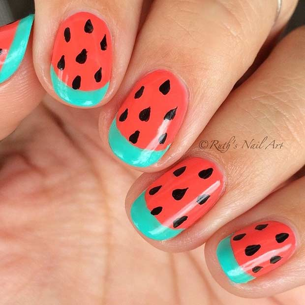Red and Green Watermelon Nail Design