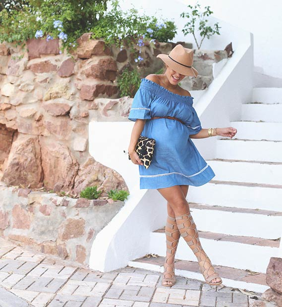 Cute Off Shoulder Dress Pregnancy Outfit