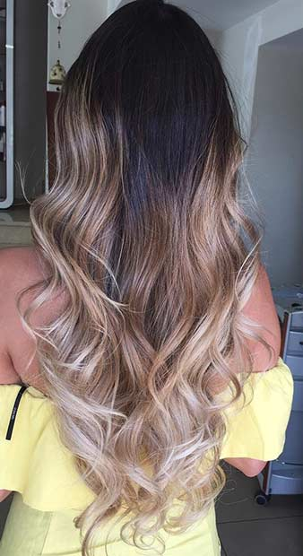 Beige Blonde Balayage Ombre for Brunettes