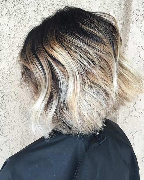 Blonde Balayage Bob Hairstyle with Dark Root