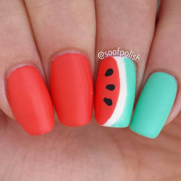 Matte Watermelon Nail Art Design