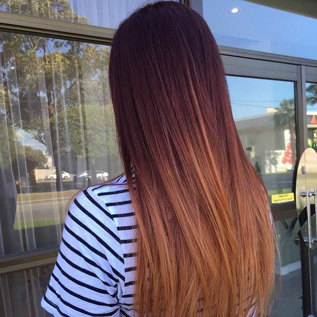 Mahogany Copper and Honey Balayage Hair