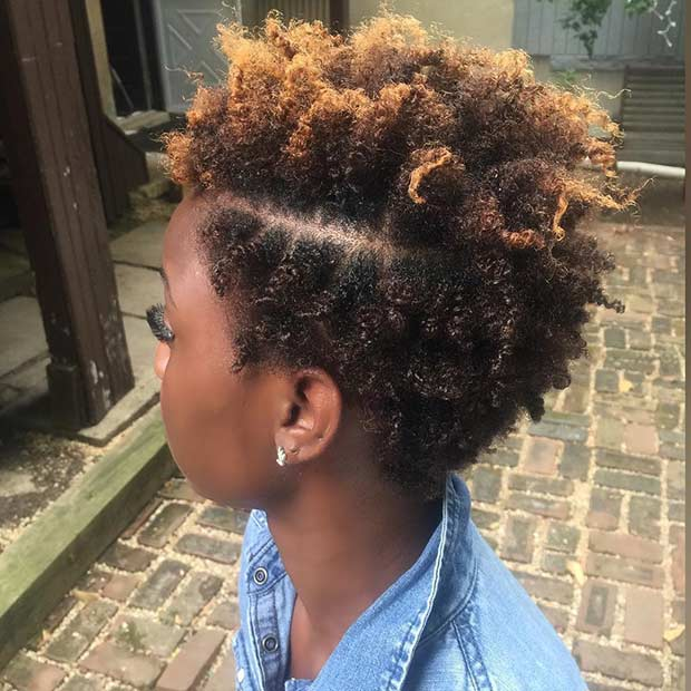 Curly Caramel Short Natural Hairstyle for Black Women