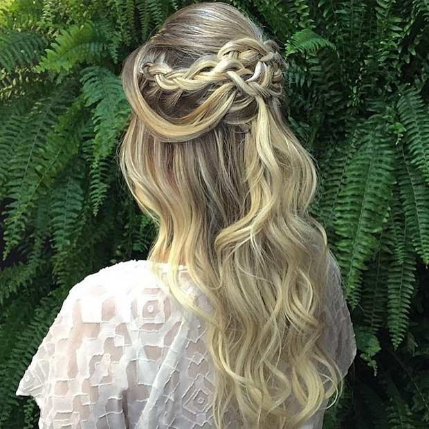 Soft Curls and Braids Half Updo