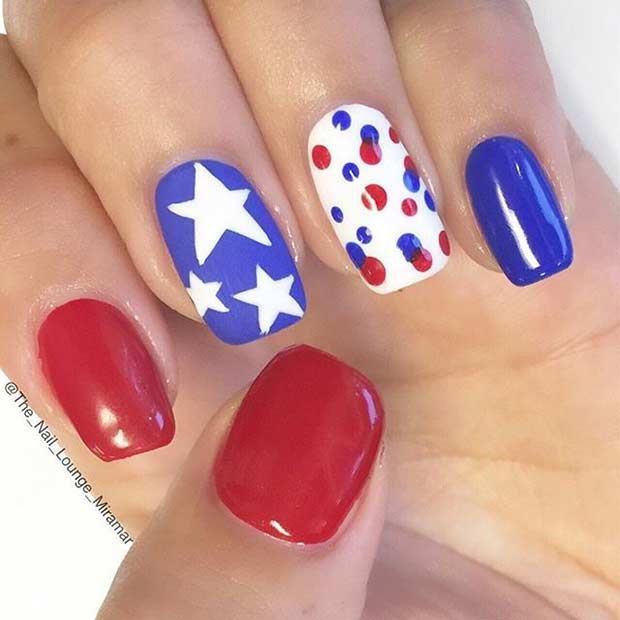 31 patriotic nail ideas for the 4th of july page 2 of 3 stayglam easy diy nail design for the 4th of july prinsesfo Gallery