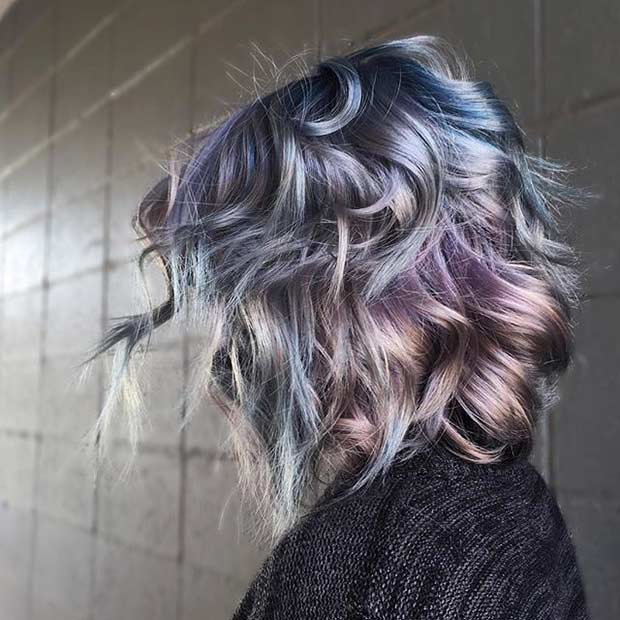 Blue and Purple Metallic Hair