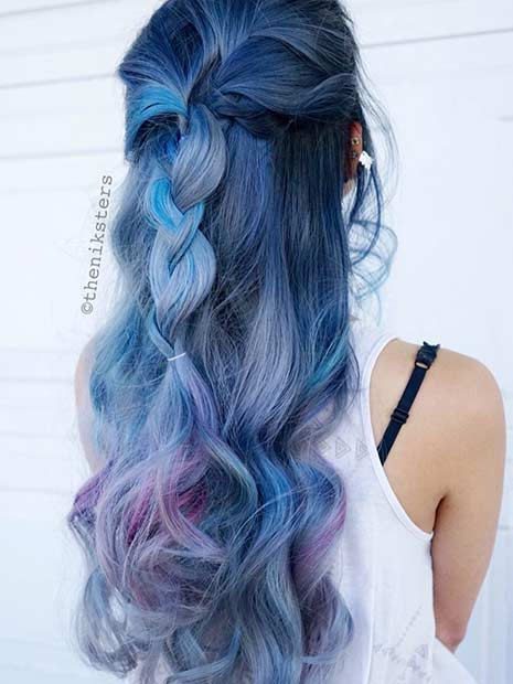 25 amazing blue and purple hair looks page 2 of 3 stayglam blue hair with purple peekaboo highlights pmusecretfo Images
