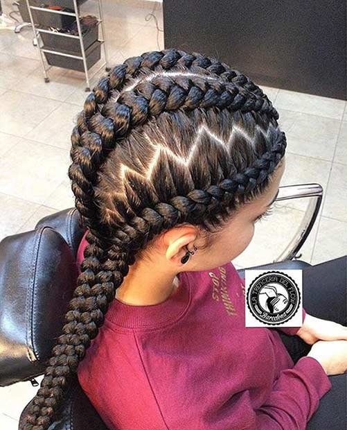 Ghana Braids With A Zig Zag Parting