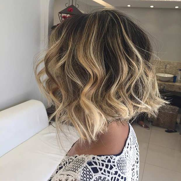 31 cool balayage ideas for short hair stayglam wavy dark short bob haircut with honey blonde balayage highlights pmusecretfo Gallery
