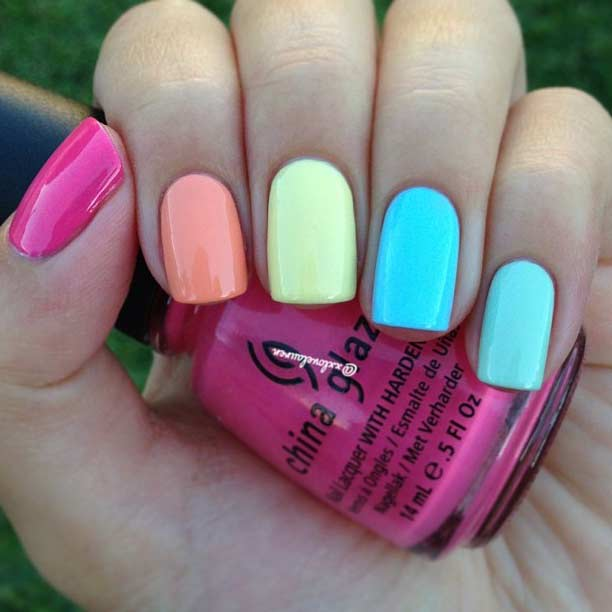 Simple Colorful Nail Design for Summer