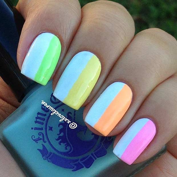 Neon Vertical Stripes Nail Design