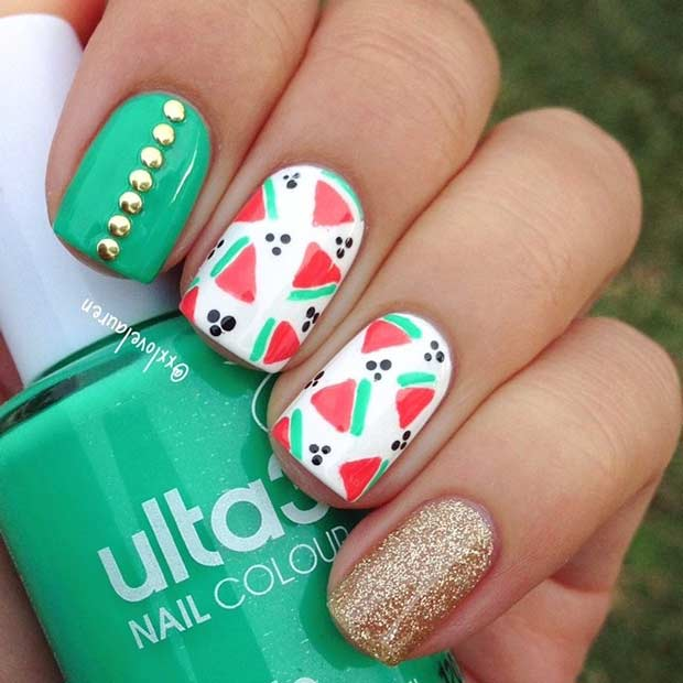 Green and Gold Watermelon Nails