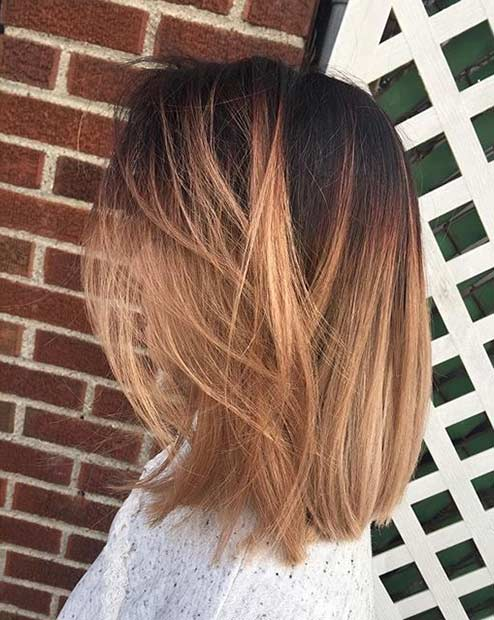 Rose Gold Balayage Ombre Long Bob