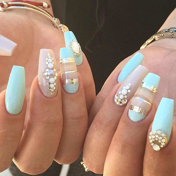 Mint and Neutral Coffin Nail Design