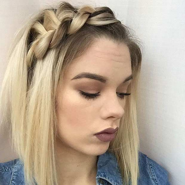 Chunky Side Dutch Braid Hairstyle for Bob Haircut