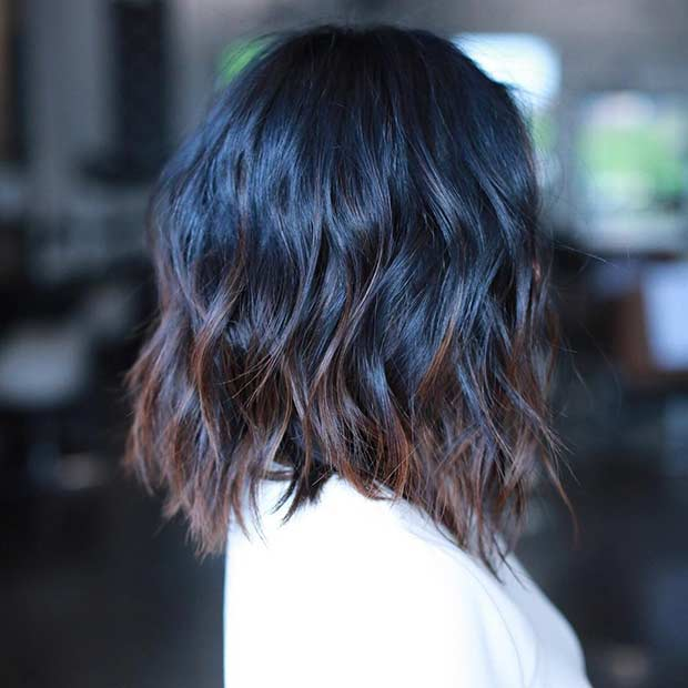 Long Bob Haircut with Layers and Light Brown Highlights