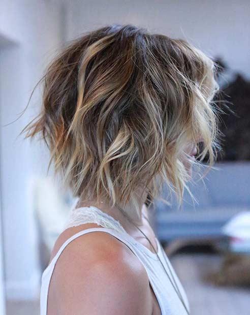 Messy Textured Inverted Short Bob Haircut