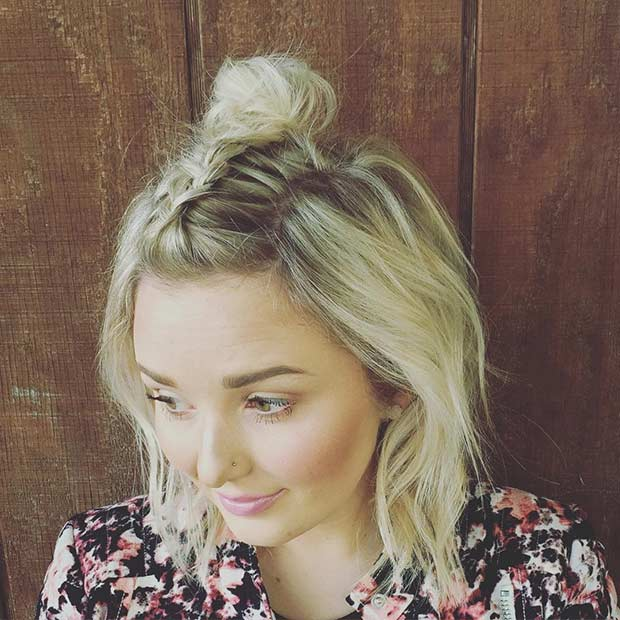 Dutch Braid into a Top Knot Style for Bob Haircut