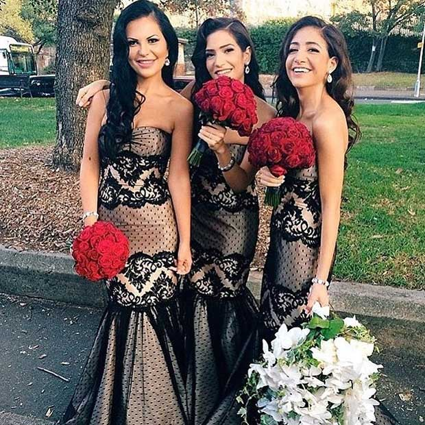 Black Lace Mermaid Dresses for Bridesmaids