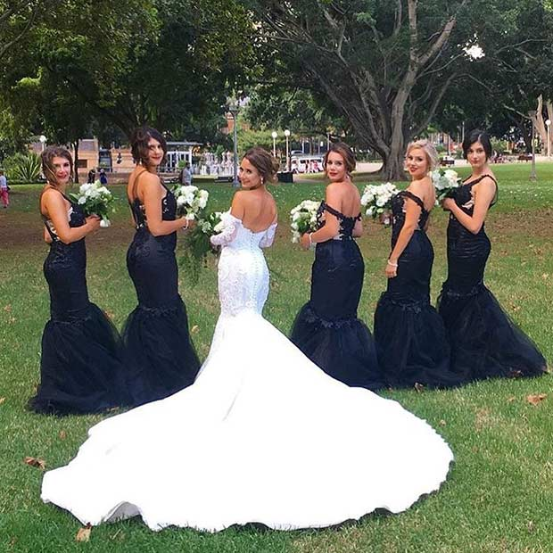 Black Mermaid Dresses for Bridesmaids