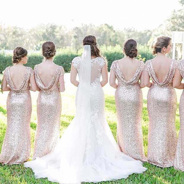Gold Sequin Open Back Dresses for Bridesmaids