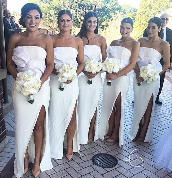 Long White Dresses for Bridesmaids