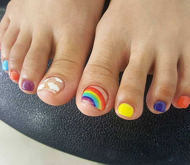 Cute Toe Nail Design for Summer