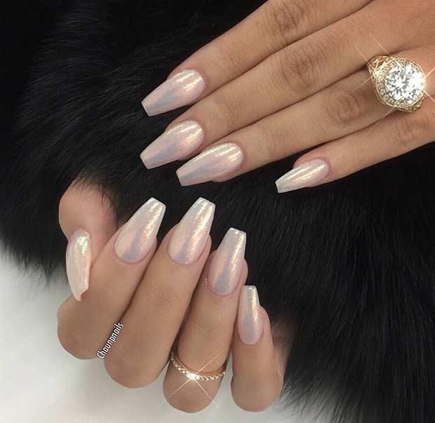 Glitter Dust Coffin Ballerina Nails