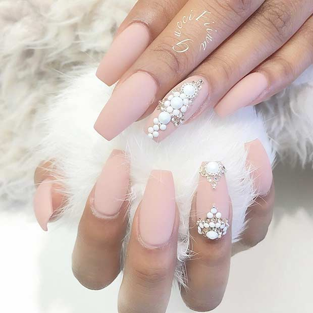 Light Blue Acrylic Nails Coffin Glossy